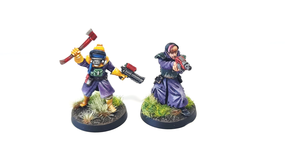 A cultist wearing an environmental protection suit and a robed cultist wearing body armour.