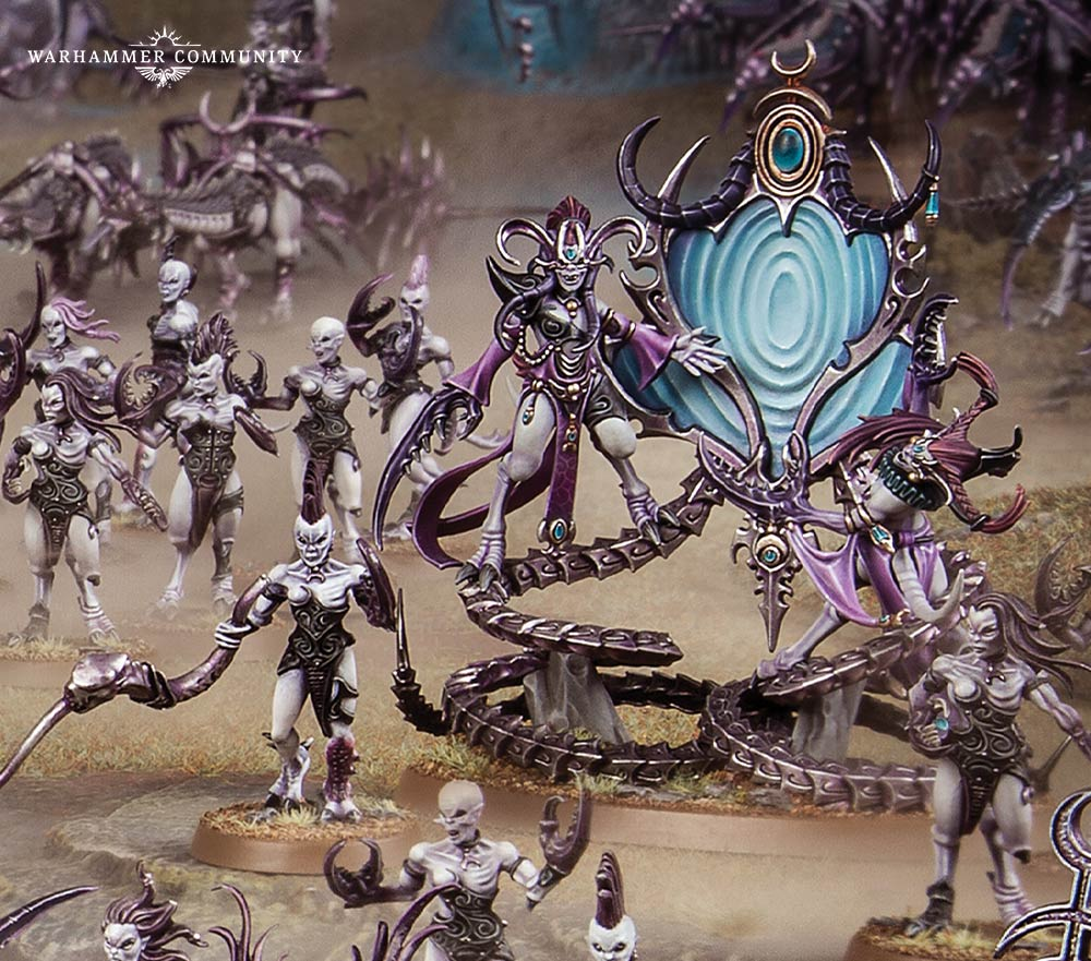 Official Games Workshop promotional image, depicting the Contorted Epitome, a Slaanesh hero.