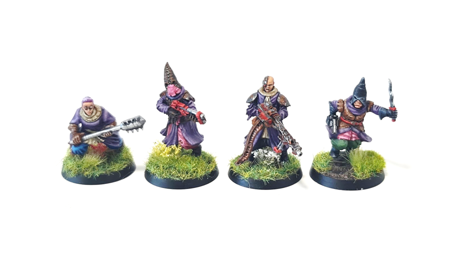 Four robed chaos cultists on meadow bases.