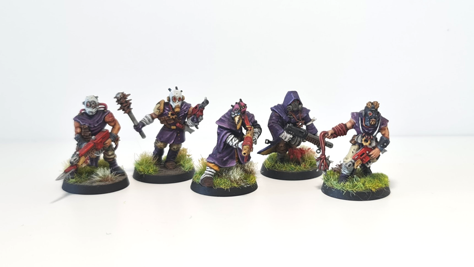Five chaos cultist miniatures on meadow bases.