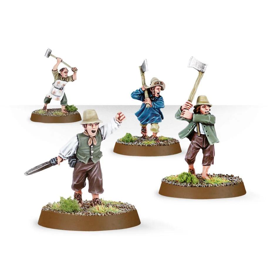 Four Hobbit Militia miniatures from Games Workshop.