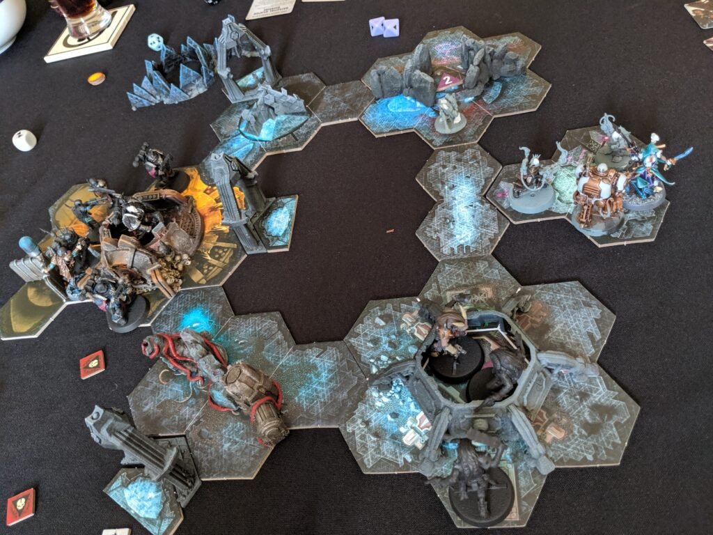 Top down of  Blackstone fortress game in progress