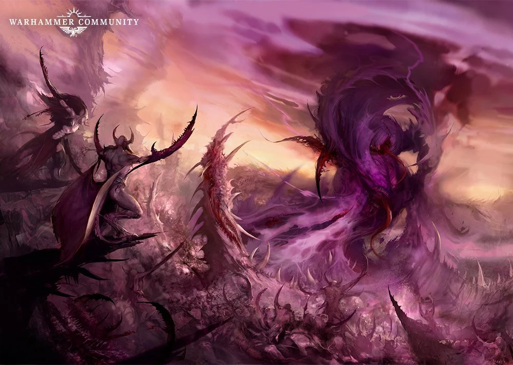 A piece of Games Workshop art, depicting Slaanesh's newborn form, with demons in the foreground.