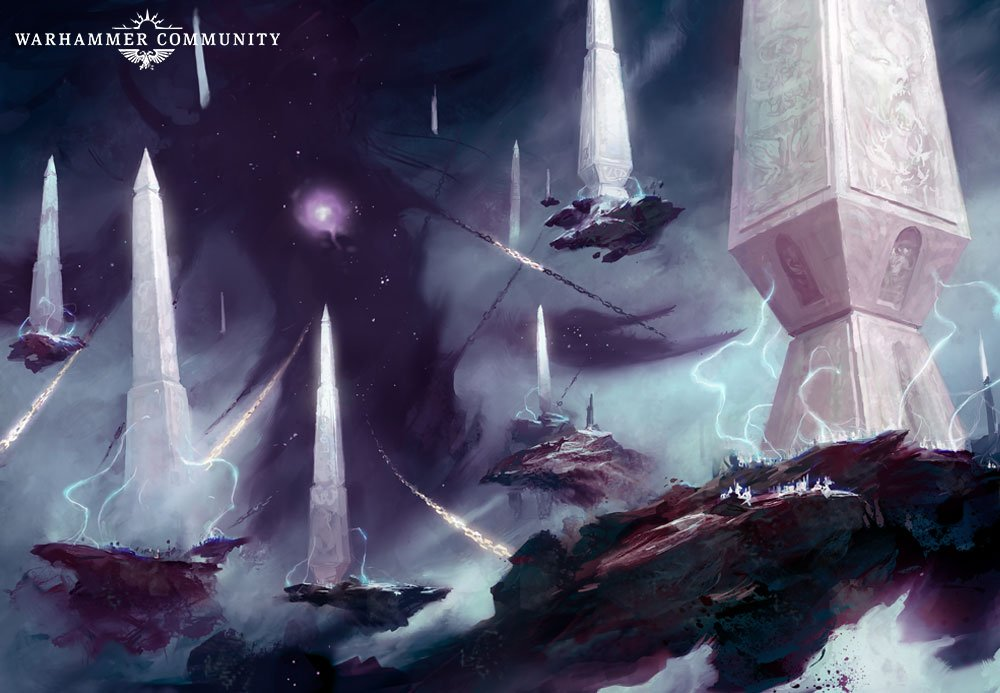 A piece of Games Workshop art, depicting Slaanesh held by chains connected to white obelisks.