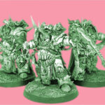 Colour Shifted Photograph of three Deathshroud Terminator models, Heavily armoured space marines, they are covered in mutations and carry scythes. They are painted in bone white and wear red cowls and capes