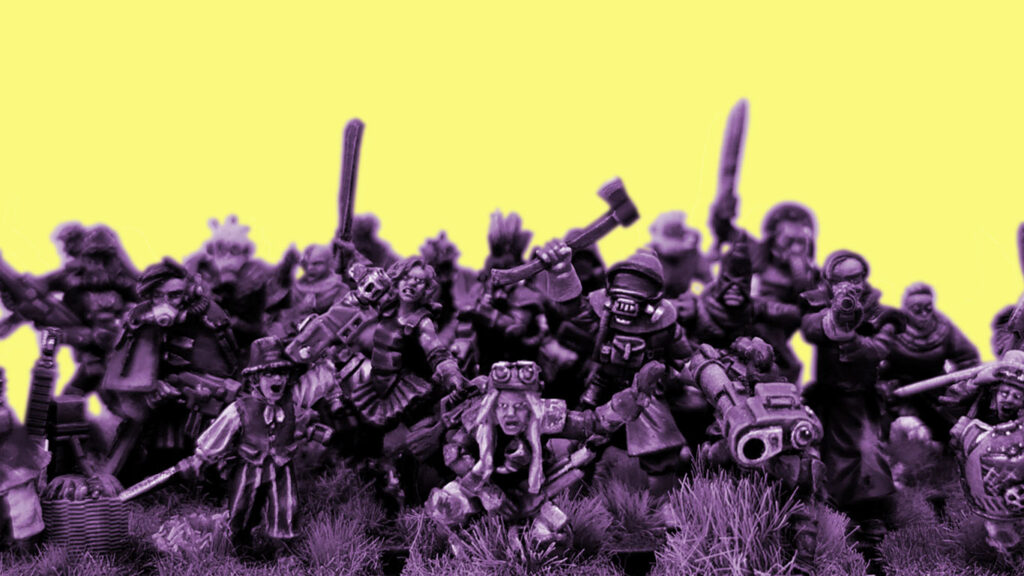 A colour shifted photo of a group of converted culsits