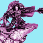 A colour shifted picture of the forge world model of Horus Lupercal