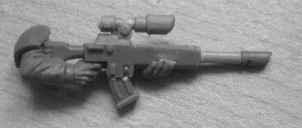 a modified lasgun for a 28mm human soldier