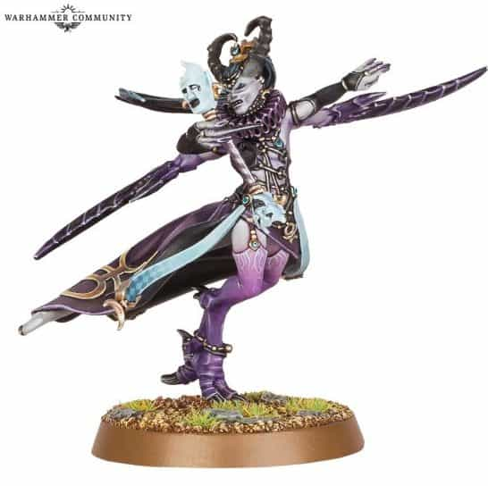 Official Games Workshop promotional image of the Masque of Slaanesh, a named hero model.