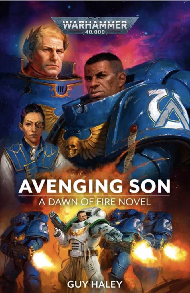 Avenging Son book cover featuring a montage of characters