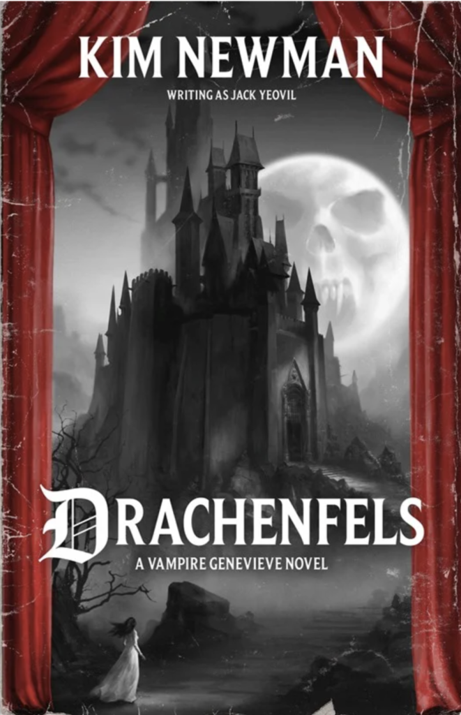 Drachenfels book cover. black and white castle with a skull in the moon and stage curtains around it