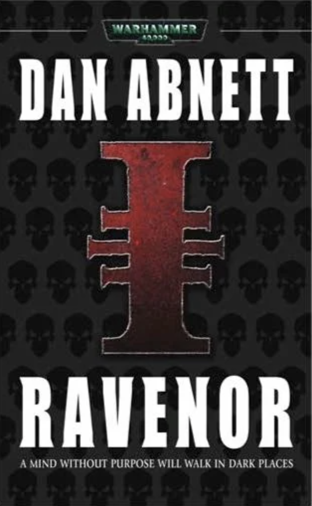 Ravenor book cover. Large inquisition I icon with skull background