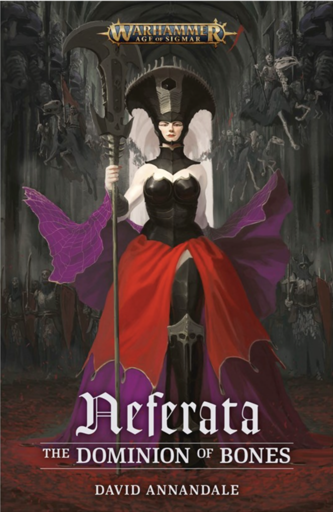 Neferata book cover with Neferata character pictured in a red dress. gothic text.