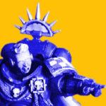 Stylised blue and orange header image of an Ultramarines captain