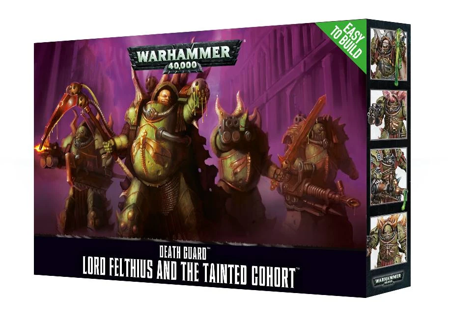 Retail packaging for the Lord Felthius box. It shows the painted box art featuring four chaos terminators in Nurgle green armour.