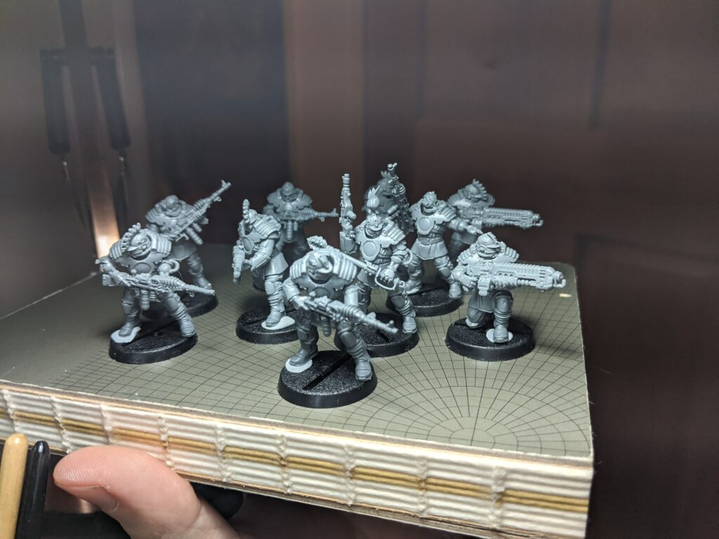 A small group of unpainted models converted from parts of several high-tech kits.