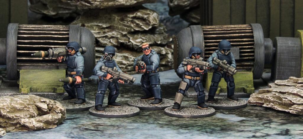 five generic 28mm sci fi soldiers