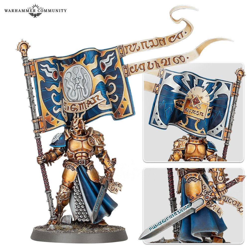 A model stormcast, a warrior in gold and blue armour, carrying a banner with the symbol of an anvil on it.