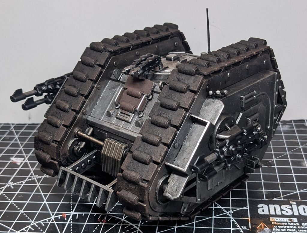 Front view of the vintage Rogue Trader-era Games Workshop Land Raider, with depth added through washes and some engine parts toned brown.