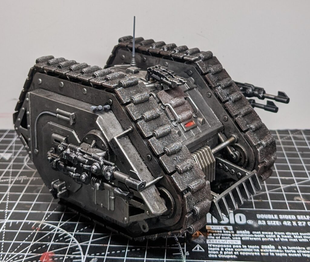 Side view of the vintage Rogue Trader-era Games Workshop Land Raider, with all details picked out.