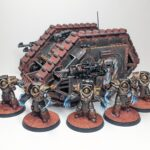 The completed land raider, photographed next to a unit of Cataphractii Terminators