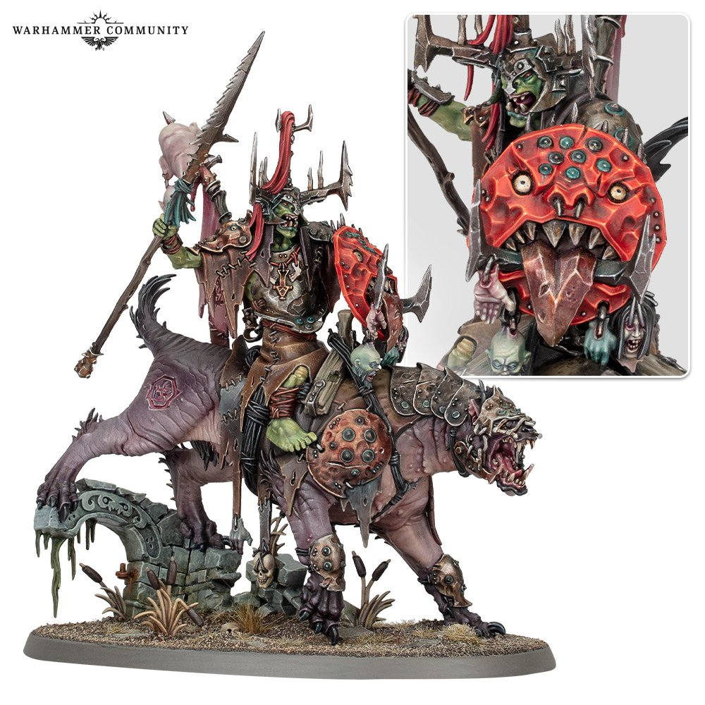 A model ork riding a massive hairless weasel-like creature.