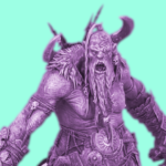 A stylised purple and green photo of a mega-gargant from the waist up