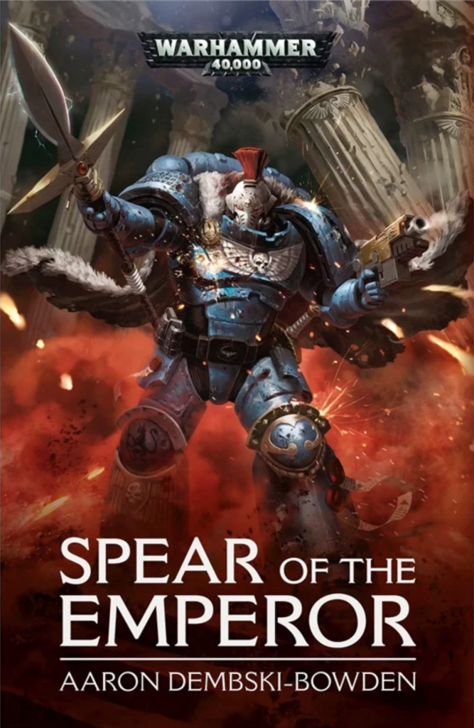 Cover of the Spear of the Emperor featuring a blue primaris Space Marine with pelts and robes wielding a spear.