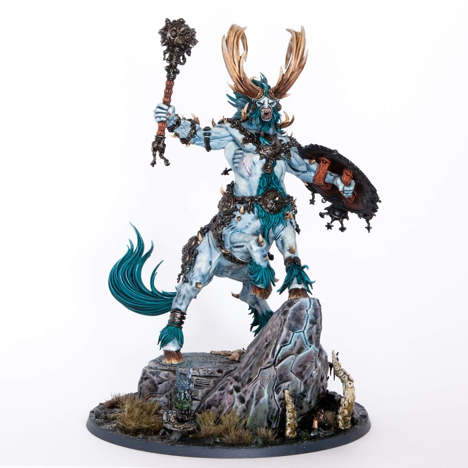 Large centaur beast kragnos, fully painted, in a light blue colour, with dark turquoise fur, on a white background