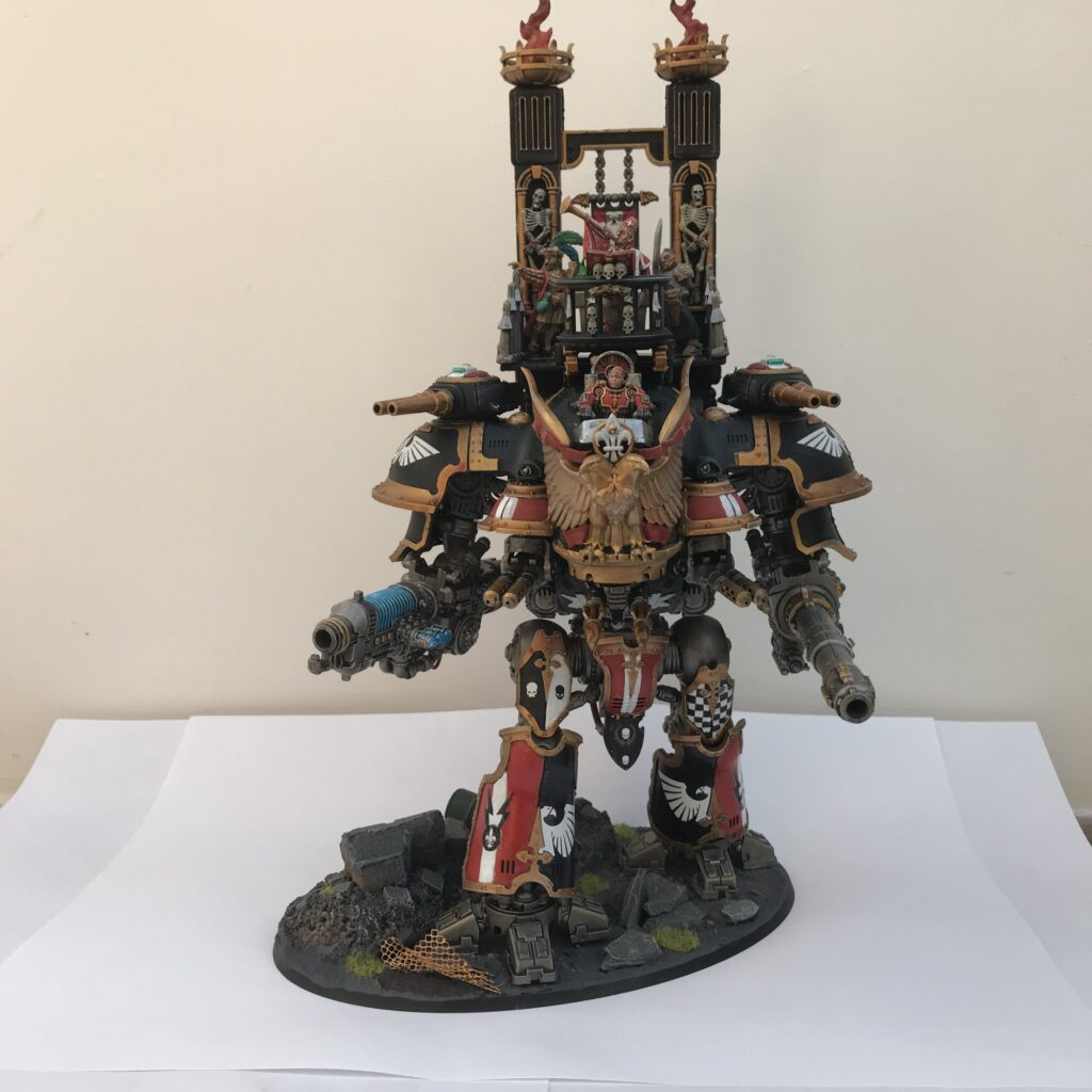 A converted bipedal knight warsuit from Games Workshop, with an open cockpit, platform and top, and a bell tower
