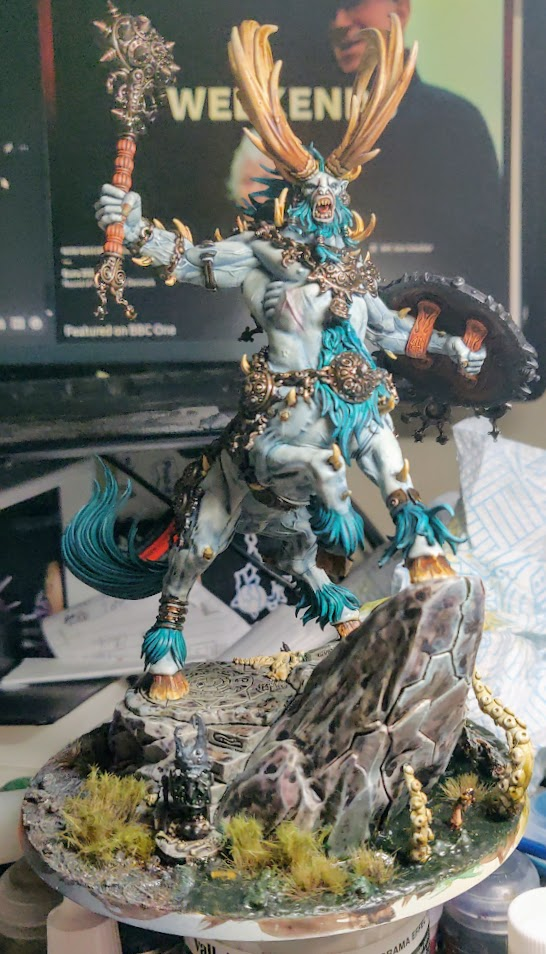 Kragnos in a more painted state. Detail on skin and metal.