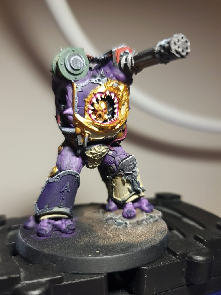 A partly finished Obliterator - a hulking chaos space marine monster. It currently does not have its arms fitted